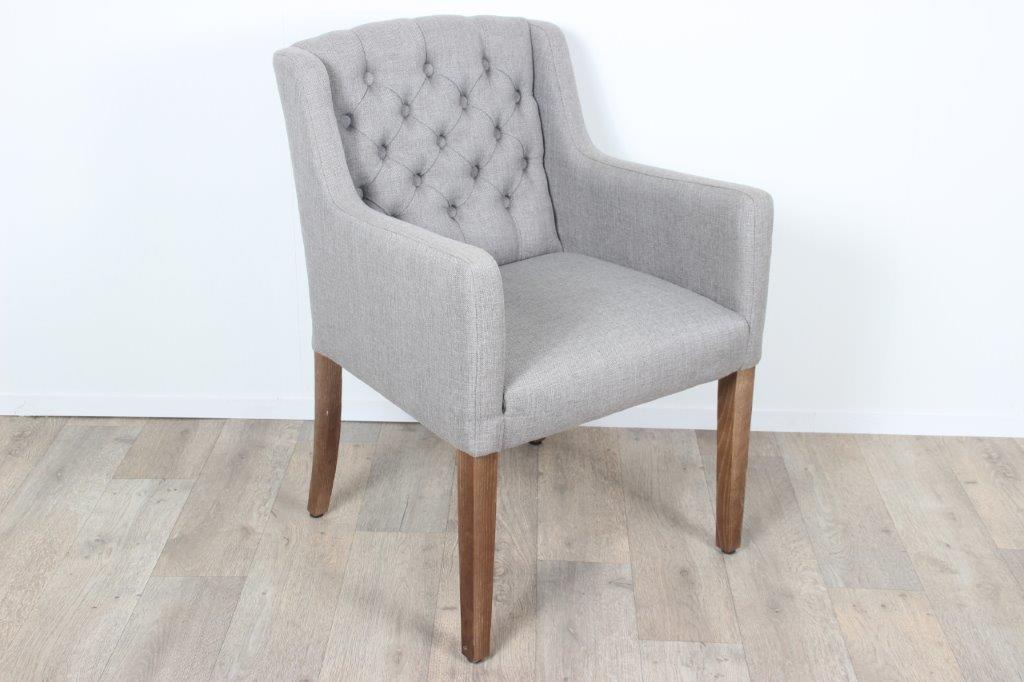 Charlotte Arm Dining Chair Fabric Beige