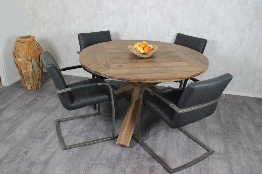 Ronde teak houten eettafel voorradig laagste prijs van nl