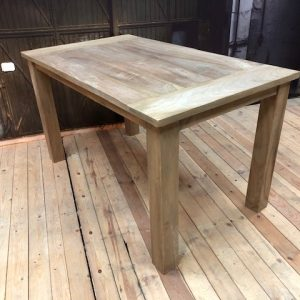 teak table with end Strip side view Wakefield xl