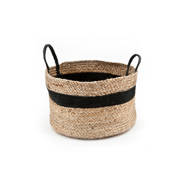 Basket Jute Black By Boo