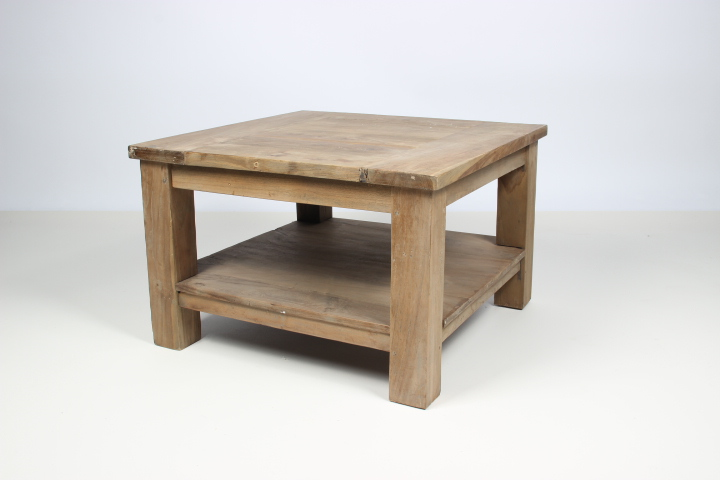 Old teak wood side table with onderplank