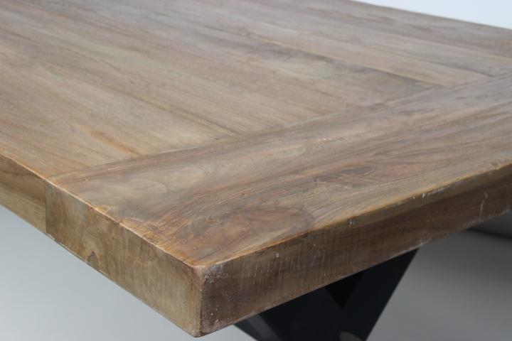 Ijzeren Onderstel Tafel : Industriële eettafel ijzeren frame massief teak hout wiegers xl