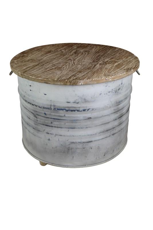 Koffietafel drum teakhout