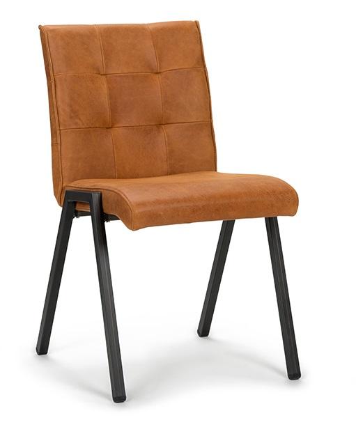 Eettafel stoelen stof cheap design leer lime leder oranje for Eettafel stoel leer
