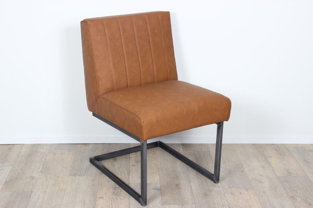 Eetkamerstoel Sturdy Cognac.Bert Eetkamerstoel Vintage Pu Leather Chair With Iron Base