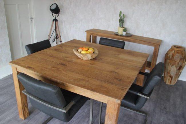 vierkante eetkamertafel Pilot Nieuw hout