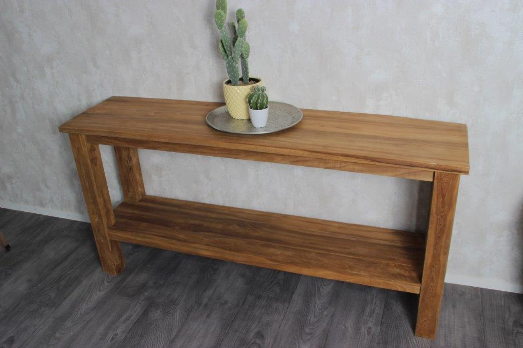 Teak Wood Side Table.Sidetable Pilot Teak Hout Incl Onderplank