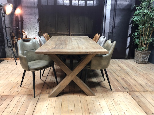 Cross teaktafel houten kruispoot massief mx sofa wiegers xl
