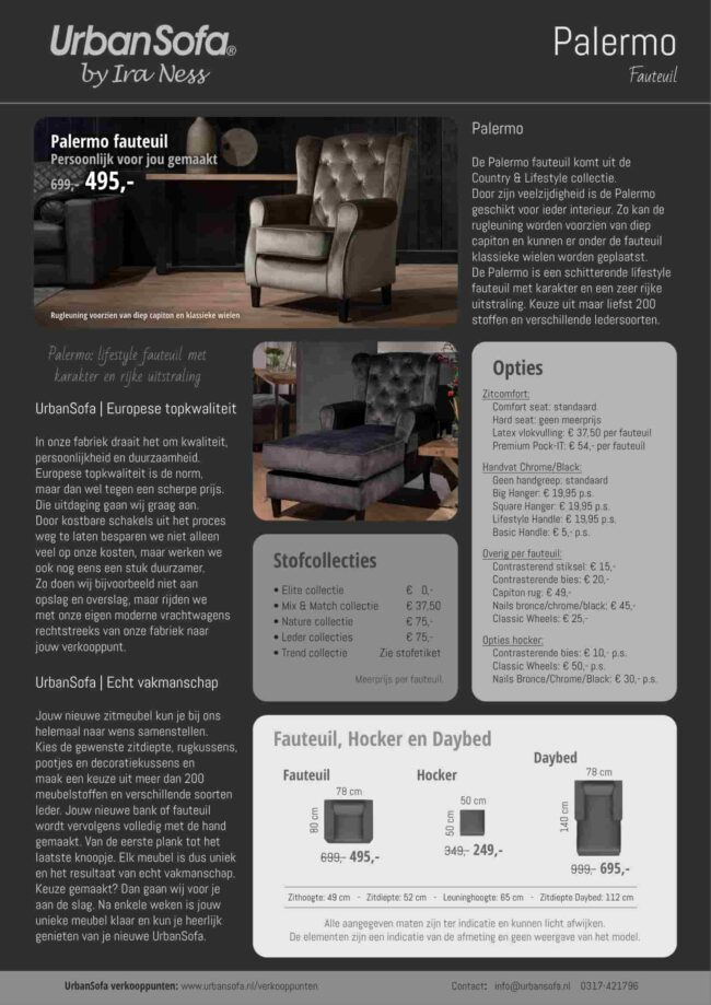 Fauteuil Palermo - keuze uit 200 meubelstoffen - UrbanSofa