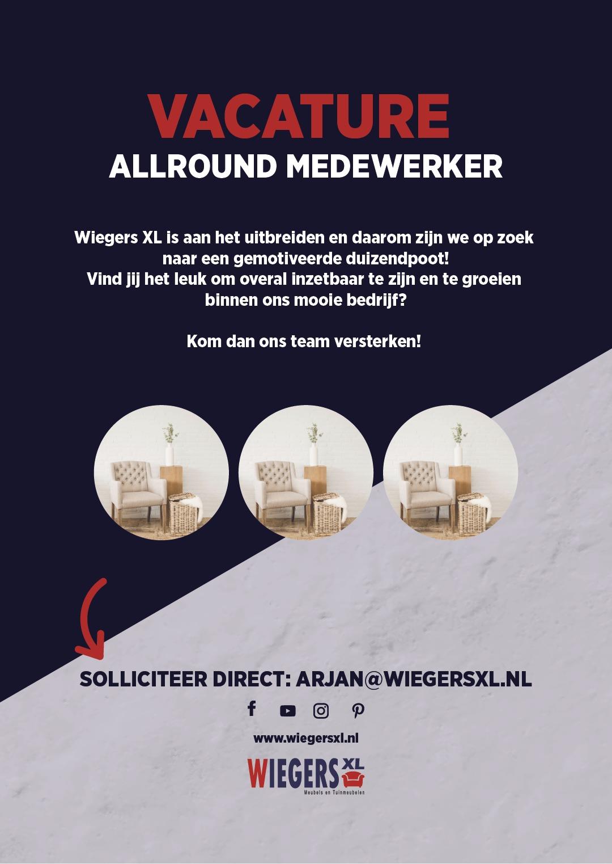 Vacature allround medewerker | Wiegers XL
