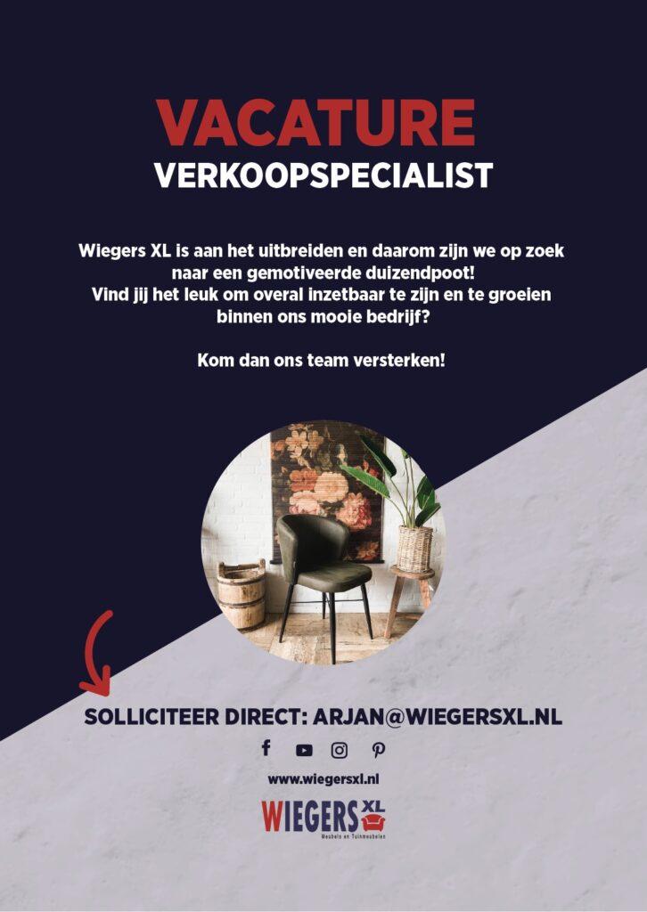 Vacature verkoopspecialist | Wiegers XL