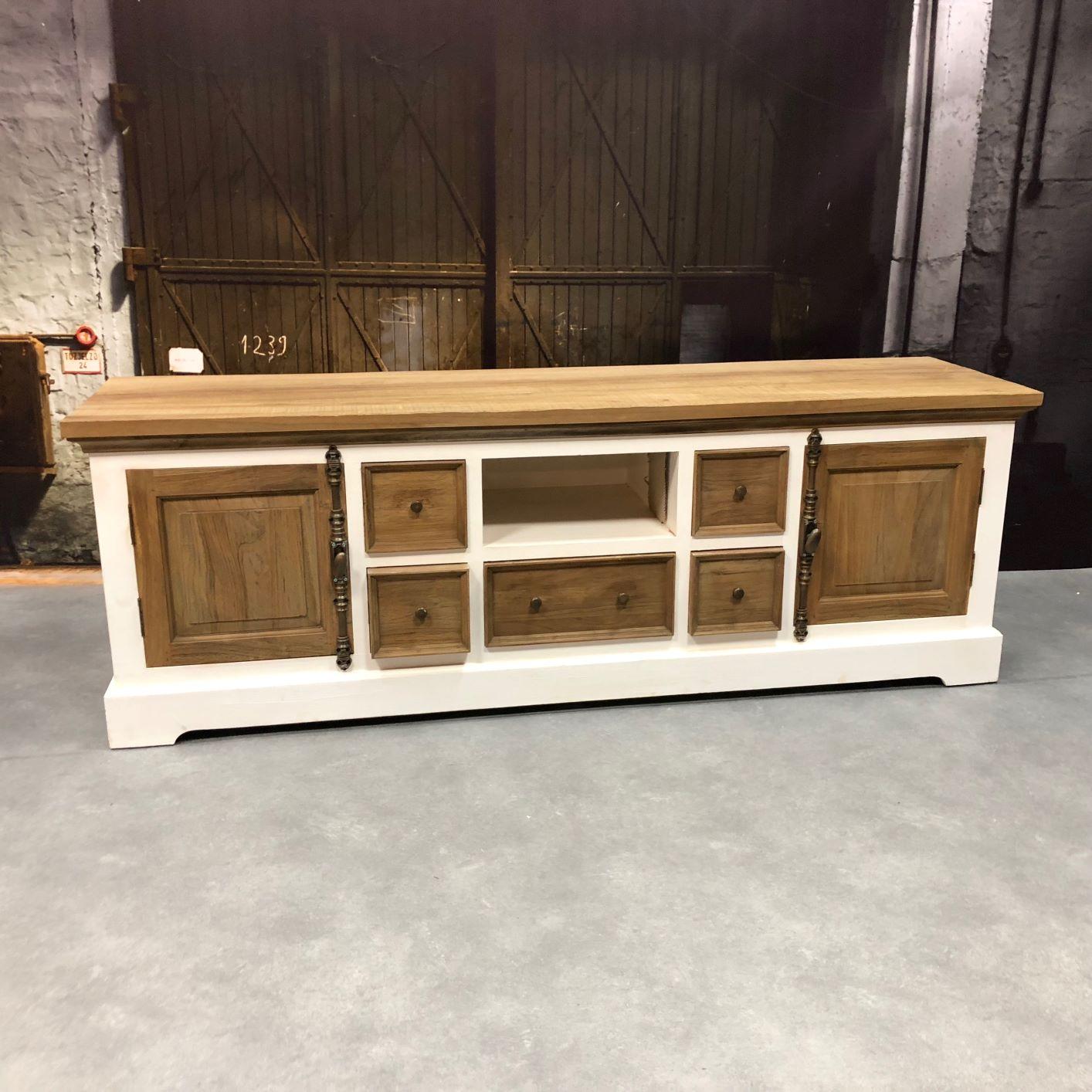 Groot Landelijk Tv Meubel.Tv Furniture Didi Large Teak Tv Furniture White Best Rates