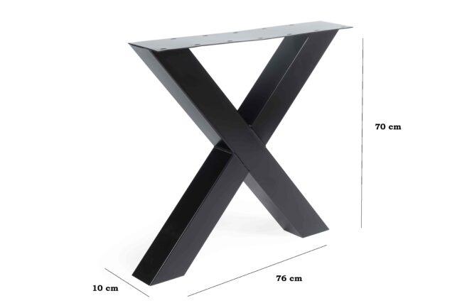 Metalen X-Poot 10 x 10 Afmetingen