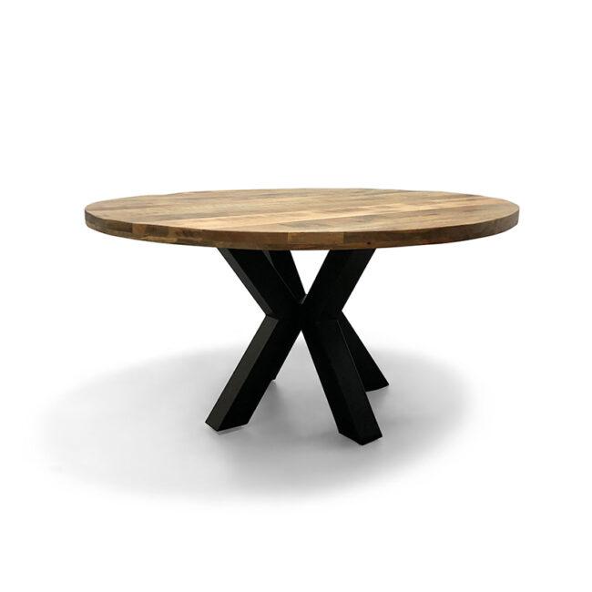 Eettafel Iron Mangohout rond inclusief metalen spinpoot - Wiegers XL