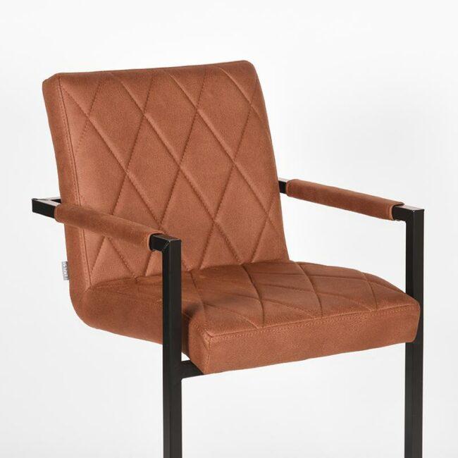 LABEL51 Eetkamerstoel Denmark - Cognac - Microfiber - UK-30.250