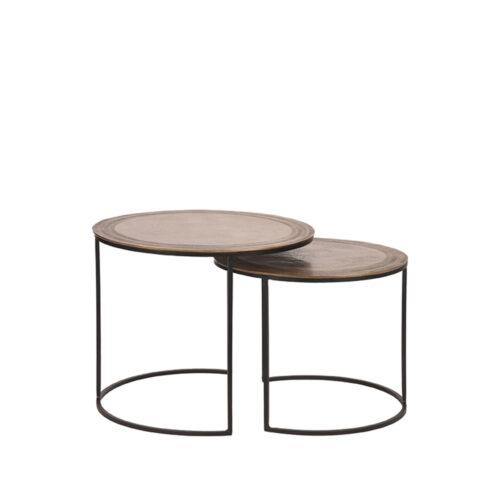 LABEL51 Salontafel Set Circle 55x55x45 cm - Goud - Metaal