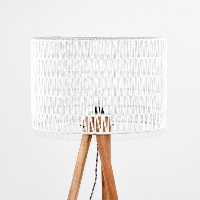LABEL51 Vloerlamp Stripe - Wit - Mangohout