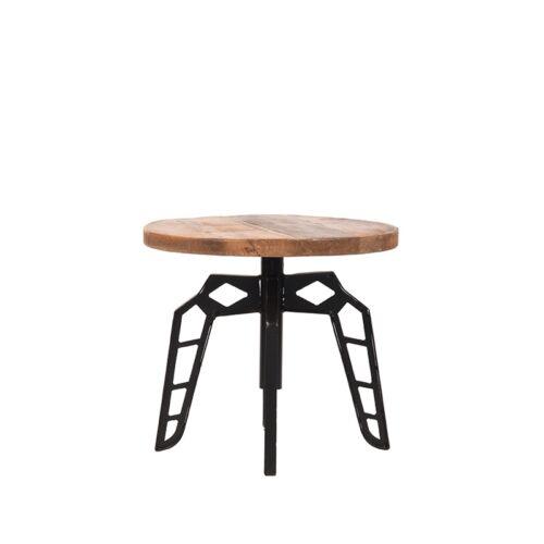 LABEL51 Bijzettafel Pebble - Rough - Mangohout - Rond - 45 cm