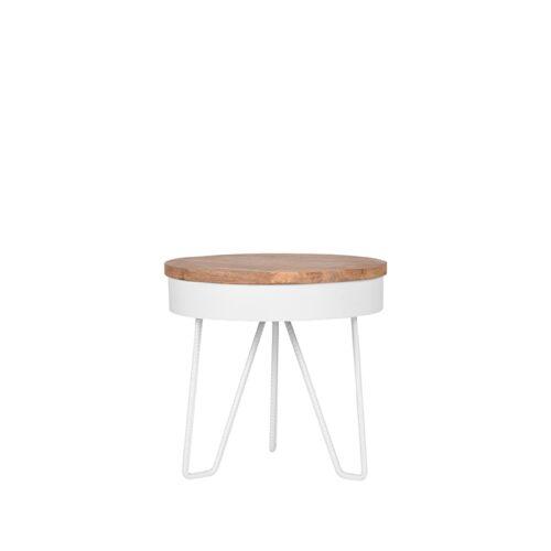 LABEL51 Side table Saran - White - Metal - Around - 44 cm