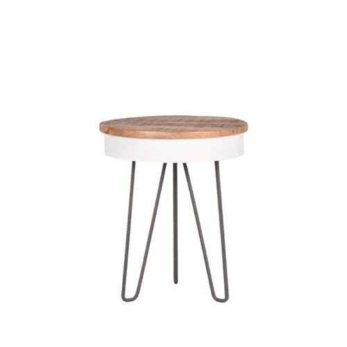 LABEL51 Side table Saria - White - Mangohout - Around - 44 cm