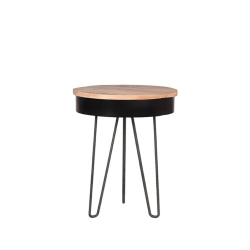 LABEL51 Side table Saria - Black - Mangohout - Around - 44 cm