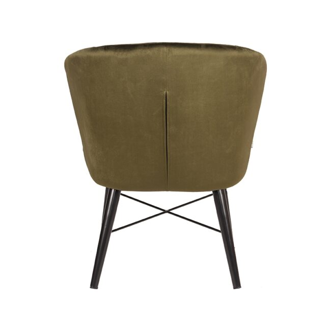 LABEL51 Fauteuil Wave - Army green - Fluweel - UK-30.178