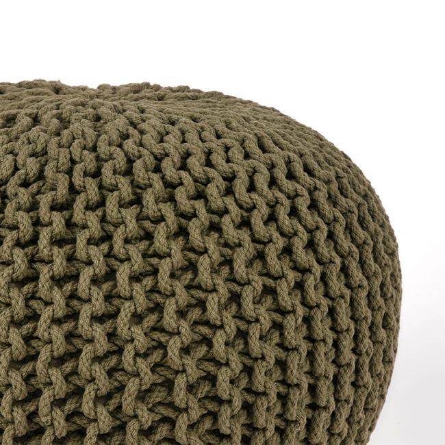 LABEL51 Poef Knitted - Army green - Katoen - L