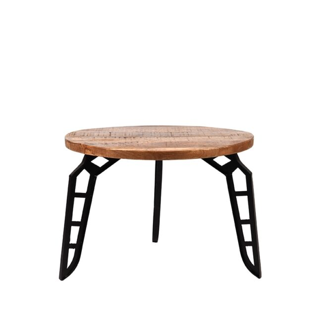 LABEL51 Salontafel Flintstone - Rough - Mangohout - Rond - 60 cm