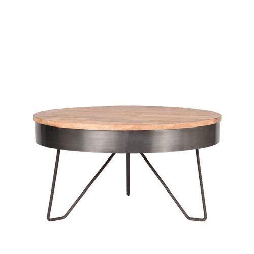 LABEL51 Salontafel Saran - Antiek grijs - Metaal - Rond - 80 cm