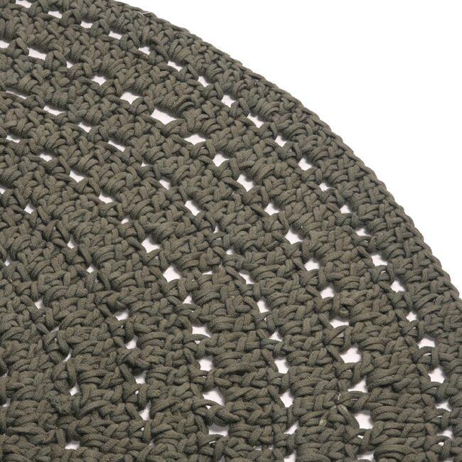 LABEL51 Vloerkleed Knitted - Army green - Katoen - 150x150 cm - SH-24.018