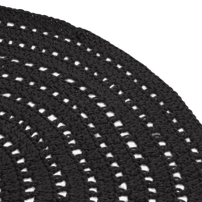LABEL51 Vloerkleed Knitted - Zwart - Katoen - 150x150 cm - SH-24.019
