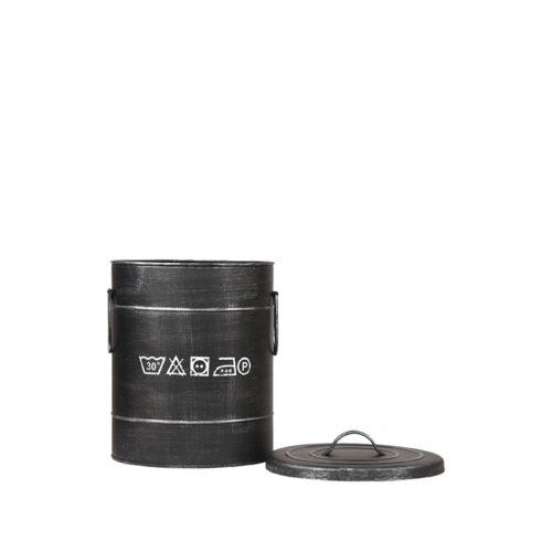 LABEL51 Opbergblik Wasmand - Zwart - Metaal - S