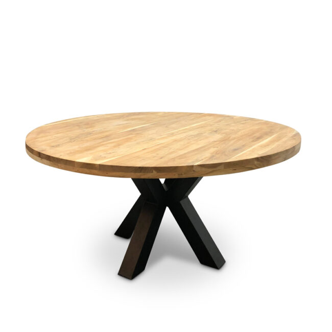 Eettafel rond acaciahout - WiegersXL