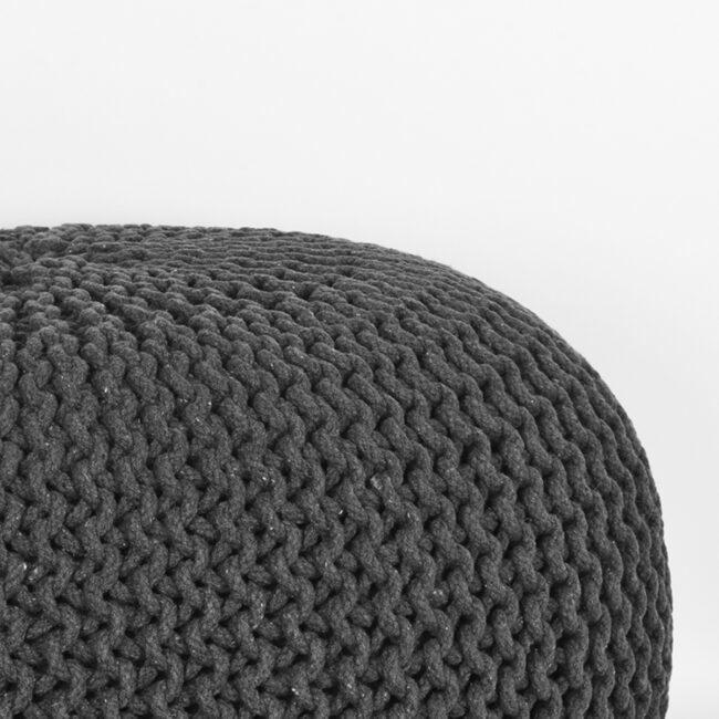 LABEL51 Poef Knitted - Antraciet - Katoen - L - SH-24.059
