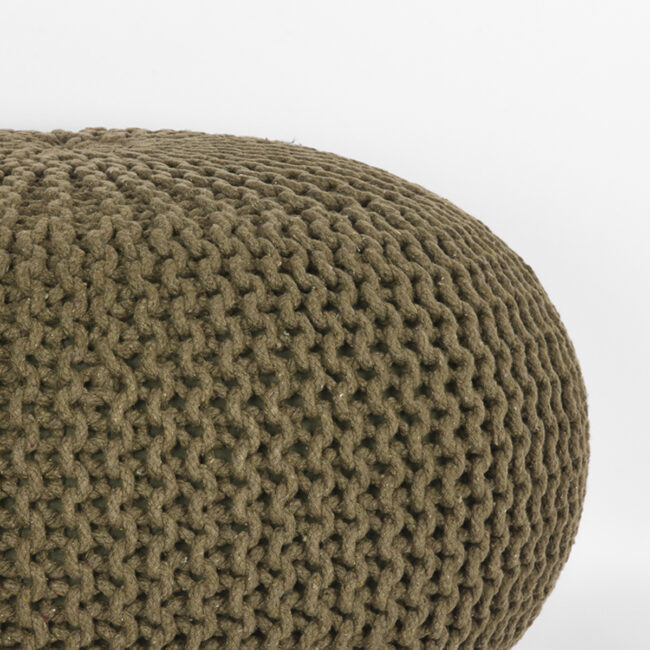 LABEL51 Poef Knitted - Army green - Katoen - L - SH-24.065