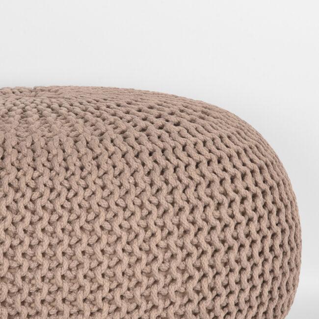 LABEL51 Poef Knitted - Beige - Katoen - L - SH-24.052