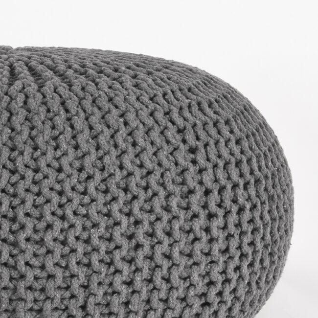 LABEL51 Poef Knitted - Donkergrijs - Katoen - L - SH-24.053