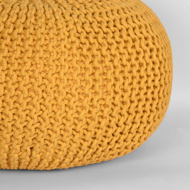 LABEL51 Poef Knitted - Oker - Katoen - L - SH-24.055