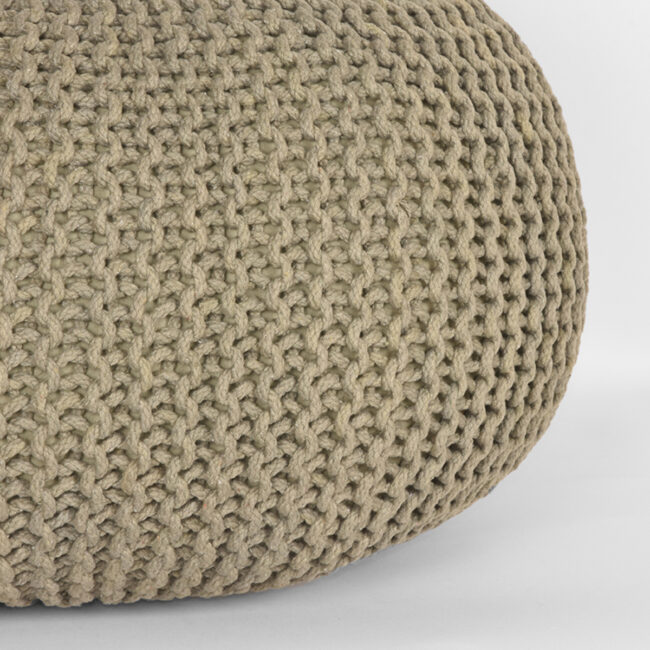 LABEL51 Poef Knitted - Olijfgroen - Katoen - L - SH-24.061