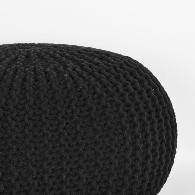 LABEL51 Poef Knitted - Zwart - Katoen - L - SH-24.063