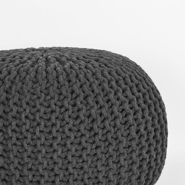 LABEL51 Poef Knitted - Antraciet - Katoen - M - SH-24.058