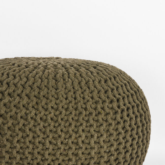 LABEL51 Poef Knitted - Army green - Katoen - M - SH-24.064