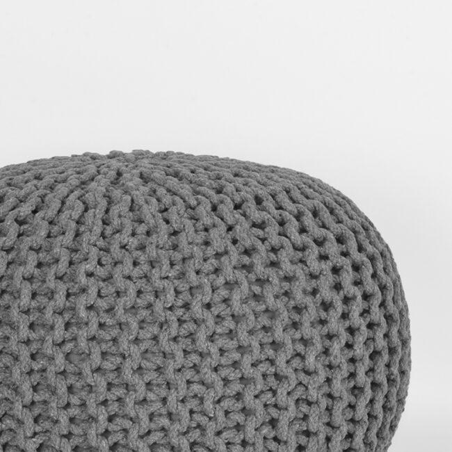LABEL51 Poef Knitted - Donkergrijs - Katoen - M - SH-24.048