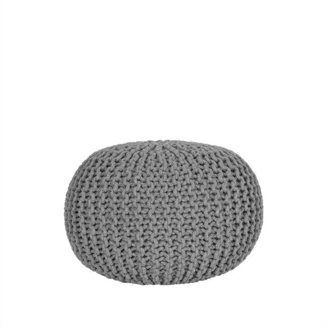 LABEL51 Poef Knitted - Donkergrijs - Katoen - M