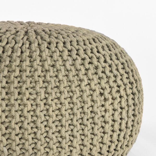 LABEL51 Poef Knitted - Olijfgroen - Katoen - M - SH-24.060