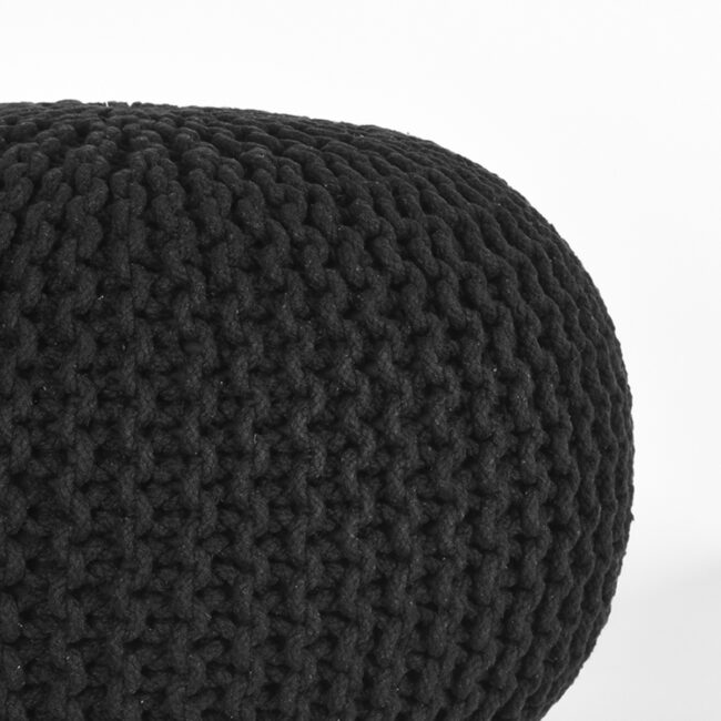 LABEL51 Poef Knitted - Zwart - Katoen - M - SH-24.062