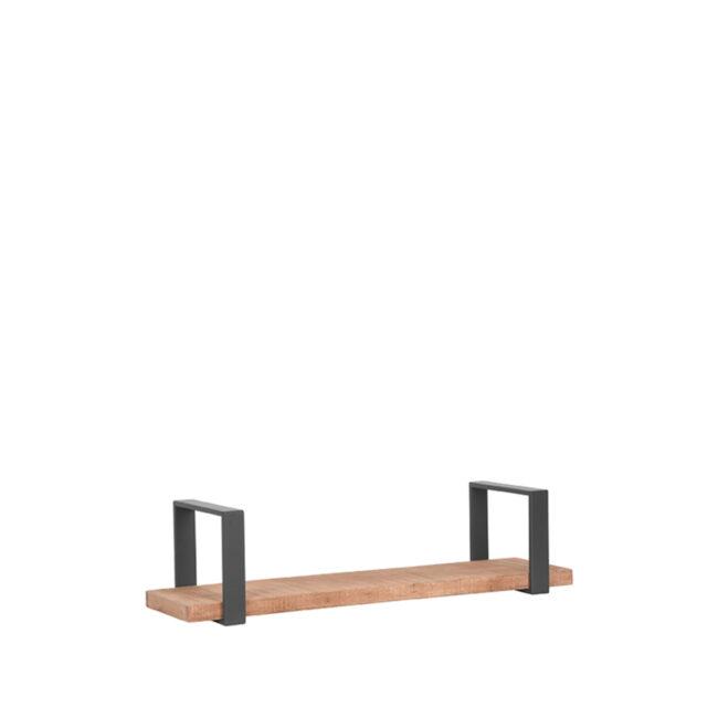 LABEL51 Wanddecoratie Slam Wandplank - Burned Steel - Mangohout - L