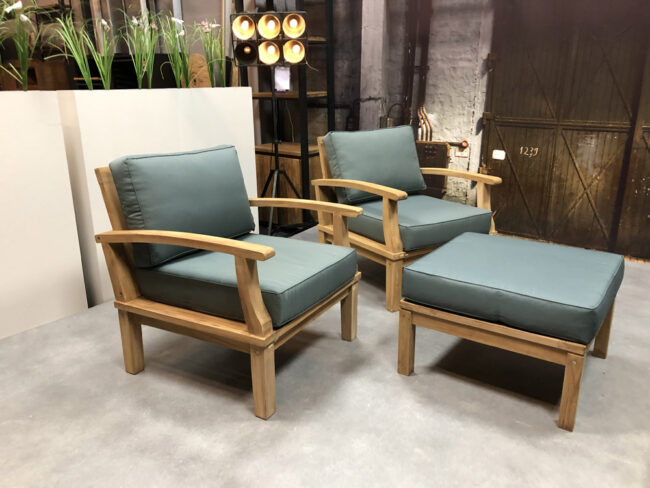 loungeset teakhout fauteuils