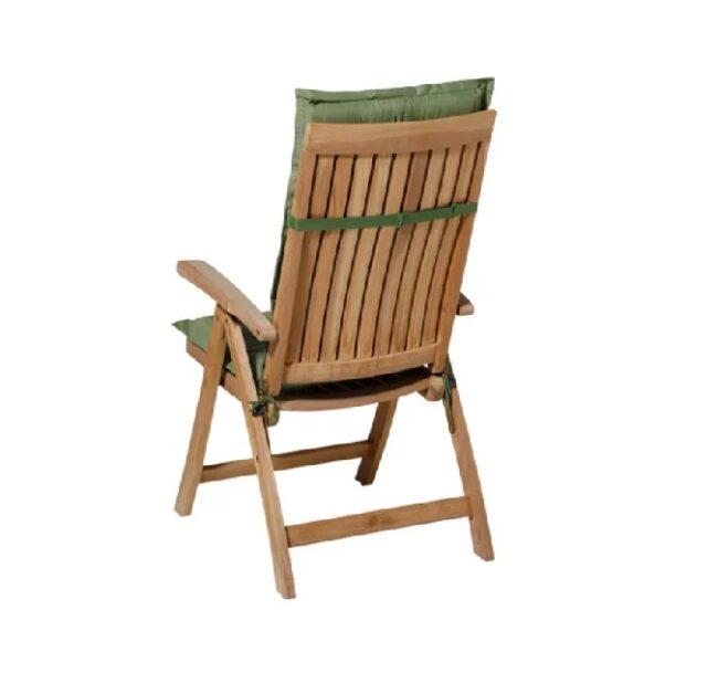 Tuinkussen Basic Green - Hoge rug incl stoel achterkant