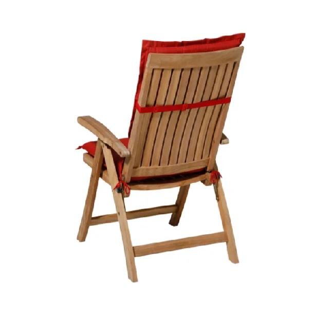 Tuinkussen Basic Rood – Hoge rug incl stoel achterkant